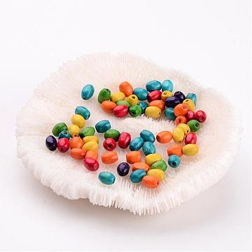 6mm Mixed Color Oval Wood Beads