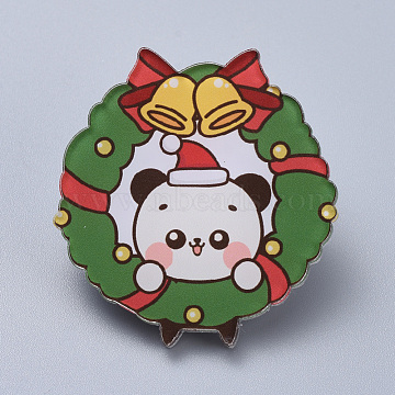 Acrylic Safety Brooches, with Iron Pin, For Christmas, Christmas Wreath with Bear, Green, 39x34x8mm; Pin:0.8mm(X-JEWB-D006-A07)
