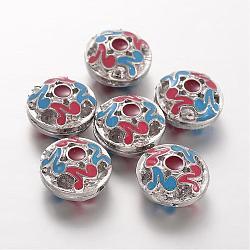 émail en alliage 3 perles gourou -hole, perles t-percées, plat rond, platine, 14x9 mm, trou: 1 mm(ENAM-O025-09)