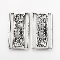Boucles d'alliage de style tibétain, rectangle, sans cadmium et sans plomb, argent antique, 54x29x1.5 mm, trou: 4x49.5 mm(X-TIBE-Q077-29AS-RS)