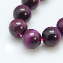 magenta naturel perles oeil de tigre brins, arrondir, teints et chauffée, 12 mm, trou: 1~2 mm; environ 16 perle / brin, 8(X-G-C076-12mm-1C)