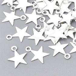 charmes de fer, sans nickel, étoiles, argent, 10x8x0.5 mm, trou: 1 mm(X-IFIN-T007-18S-NF)