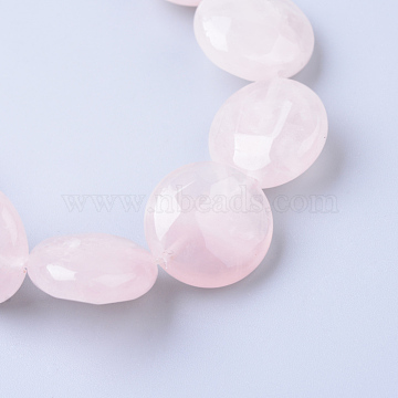 16mm Flat Round Rose Quartz Beads