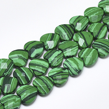 10mm Heart Malachite Beads