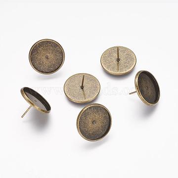Réglages de goujons en laiton, couleur de bronze antique, taille: environ 12 mm de long, Bac: 18 mm de diamètre, 16 mm de diamètre intérieur , épaisseur de 2.3mm(X-KK-Q004-AB)