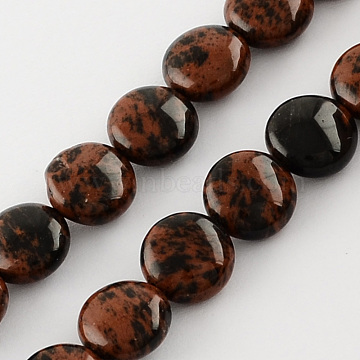 Natural Mahogany Obsidian Stone Bead Strands, Lentil, Dark Red, 10x5mm, Hole: 1mm; about 40pcs/strand, 15.7 inches(G-R189-09)