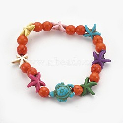 """Bracelets stretch enfants perles de turquoise synthétiques, tortue de mer et étoile de mer et rond, orange foncé, 2-1/8"""" (5.5 cm)(BJEW-JB03889-02)"""