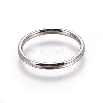 304 Stainless Steel Finger Rings, Stainless Steel Color, Size 8, 18mm(RJEW-O032-03P-18mm)