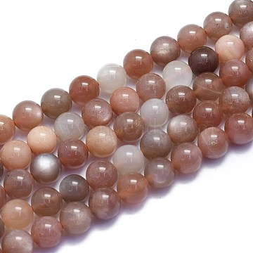 Natural Sunstone Beads Strands, Round, 8~8.5mm, Hole: 0.8mm; about 46pcs/Strand, 15.08 inches(38.3cm)(G-K310-C08-8mm)