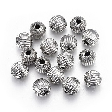 304 Stainless Steel Corrugated Beads, Round, Stainless Steel Color, 6mm, Hole: 1.6mm(STAS-P218-24-6mm)