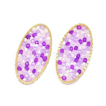 41mm Violet Oval Glass Beads