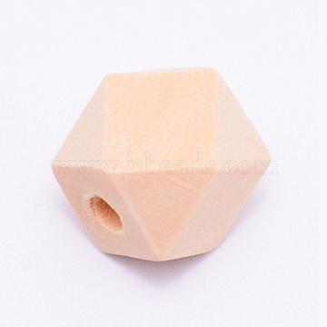 Grass Tree Wood Beads, Polygon, Undyed, Star Cut Round Beads, BurlyWood, 11.5x14.5x15.5mm, Hole: 2.5mm(CD-TAC0004-01B)