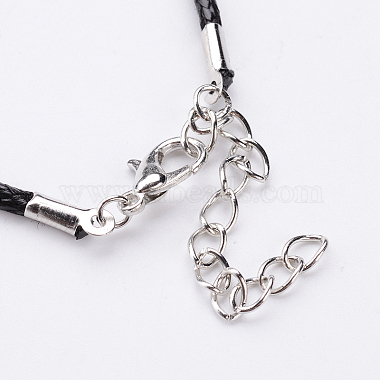 Antique Silver Alloy Heart Waxed Cord Pendant Necklaces(NJEW-J054-02)-3