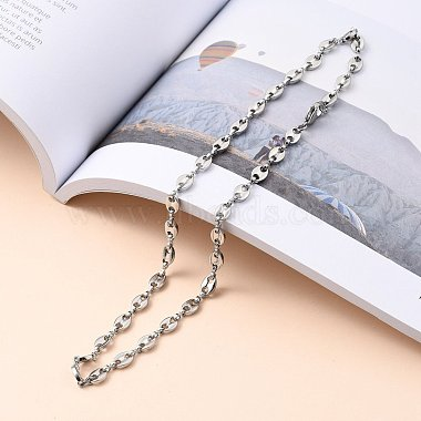 304 Stainless Steel Coffee Bean Chain Necklaces(NJEW-JN03083-01)-4