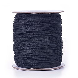 Nylon Thread, Round, Chinese Knotting Cord, Beading String, for Bracelet Making, Black, 1.5mm; about 140yards/roll(NWIR-G002-2)