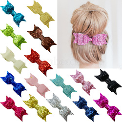 Cloth Bowknot Alligator Hair Clips, with Iron Alligator Clips, Glitter Powder, Mixed Color, 95x30mm; clip: 56x8mm(OHAR-Q052-M)