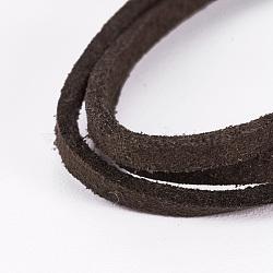 cordon de suède de faux plat, dentelle de faux suède, café, 2.5x1.5 mm; sur 5 m / brin(X-LW-WH0003-01E)