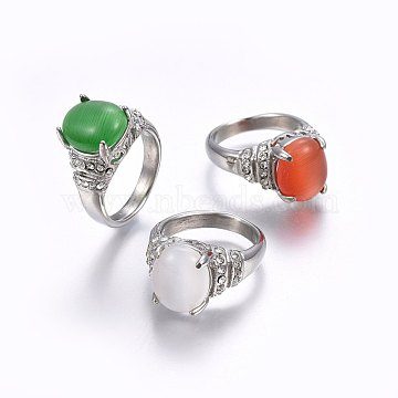 304 Stainless Steel Cat Eye Wide Band Rings, with Rhinestones, Mixed Color, Stainless Steel Color, Size 4~6, 14~16mm(RJEW-H128-12P)