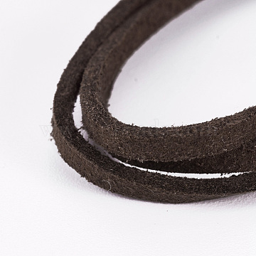 Flat Faux Suede Cord, Faux Suede Lace, Coffee, 2.5x1.5mm, about 5.46 yards(5m)/strand(X-LW-WH0003-01E)