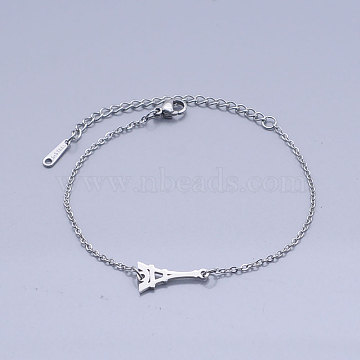 201 Stainless Steel Link Bracelets, with Lobster Claw Clasps, Eiffel Tower, Stainless Steel Color, 6-3/4 inches(17.2cm)(BJEW-T011-JN508-1)