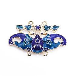 Composants de liens de lustre en alliage, avec l'émail, papillon, or clair, bleu, 41.5x26x3.1mm, Trou: 1.8mm(ENAM-ZH9576-2)