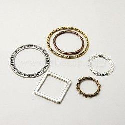 Anneaux connecteurs en alliage, forme mixte, couleur mixte, 16~37x14~37x1.5~2.5mm(PALLOY-MSMC006-M1)
