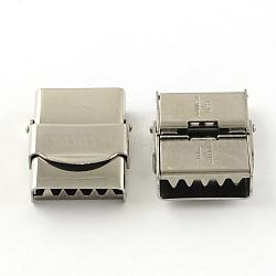 Surface lisse fermoirs de bande de montre 201 en acier inoxydable, couleur inoxydable, 25x19x7mm, Trou: 16x3mm(STAS-R063-81)