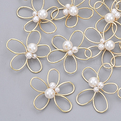 Brass Wire Beads, with ABS Plastic Imitation Pearl, Nickel Free, Flower, Real 18K Gold Plated, White, 28x24x7mm(KK-S354-011-NF)