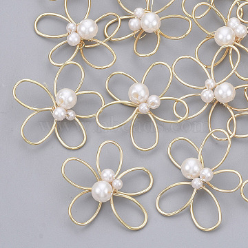 Real Gold Plated White Flower Brass Beads