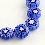 "Handmade Millefiori Glass Beads Strands, Flat Round, Blue, 8x3mm, Hole: 1mm; about 50pcs/strand, 14.1"""