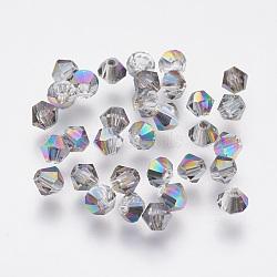 imitation perles de cristal autrichien, AAA grade, facettes, Toupie, coloré, 4x3.5 mm, trou: 0.7~0.9 mm(SWAR-F058-4mm-31)