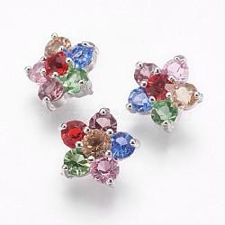 Boutons à zircon cubique en laiton, fleur, colorées, platine, 12x12x7.5mm, Trou: 1.2mm(X-BUTT-E125-03P)