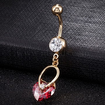 Piercing Jewelry, Environmental Brass Cubic Zirconia Navel Ring, Belly Rings, with Use Stainless Steel Findings, Real 18K Gold Plated, Heart, Red, 47x10mm(AJEW-EE0003-28C)