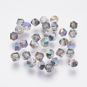 Imitation Austrian Crystal Beads, Grade AAA, Faceted, Bicone, Colorful, 4x3.5mm, Hole: 0.7~0.9mm(SWAR-F058-4mm-31)