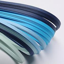 Bandes de papier quilling de 6 couleurs, bleu progressive, 530x5mm; à propos 120strips / sac, 20strips / couleur(X-DIY-J001-5mm-A05)