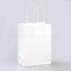 Sacs en papier kraft de couleur pure, sacs-cadeaux, sacs à provisions, avec poignées en corde de nylon, rectangle, blanc, 15x11x6 cm(AJEW-G020-A-03)
