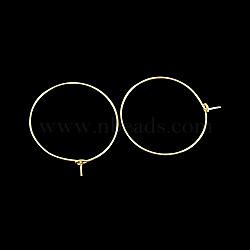 Латунь бокал очарование кольца серьги обруча, золотые, диаметром около 25 мм , толщиной 0.8 мм (X-EC067-2G)