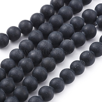 Natural Black Obsidian Beads Strands, Frosted, Round, 8mm, Hole: 1.2mm; about 49pcs/strand, 15.4inches(39.2cm)(X-G-F662-01-8mm)