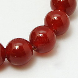Natural Red Agate Beads Strands, Dyed, Grade A, DarkRed, Round, 10mm, 15