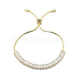 """Bracelets coulissants en laiton, bracelets bolo, avec des chaînes de coupelles en zircone cubique et des chaînes, or, clair, 10-1/4"""" (26 cm)(BJEW-I272-02D)"""