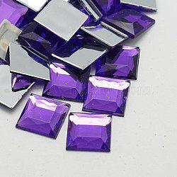 Акриловые стразы - кабошоны , плоская спина и гранеными, квадратный, фиолетово-синие, 12x12x3 мм(GACR-A024-12x12mm-04)