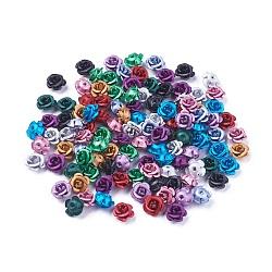 Perles en aluminium, givré, plaqué longue durée, 5 fleur -petal, couleur mélangée, 6~6.5x4 mm, trou: 0.8 mm(X-FALUM-T001-03A-M)