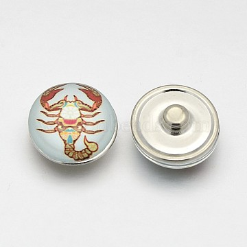 Platinum Tone Half Round/Dome Brass Jewelry Snap Buttons, with Scorpion Pattern Glass Cabochons, Colorful, 18x10mm, Knob: 5.5mm(MAK-J007-70)