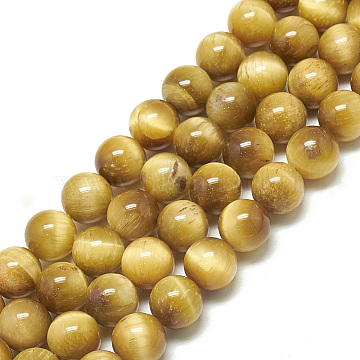Natural Tiger Eye Beads Strands,  Round, Gold, 6mm, Hole: 1mm; about 68pcs/strand, 15.7 inches(X-G-S300-6mm-107H)
