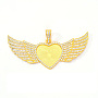 Alloy Pendant Cabochon Settings, with Rhinestone, Lead Free & Nickel Free, Heart with Wing, Golden, Tray: 26.5x32.5mm, 47.5x117.5x6mm, Hole: 15x7mm