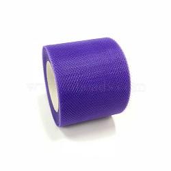 Tissu de filet, Tissu à carreaux en tulle pour la fabrication de jupe, indigo, 2'' (5 cm); environ 25 mètres / rouleau (22.86 m / rouleau)(OCOR-P010-C-C26)