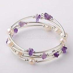 Bracelets enroulés avec puces de pierre gemme, l'argent et le platine, améthyste, 53mm(X-BJEW-JB01518-04)