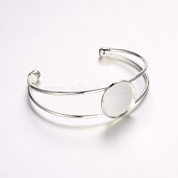 Nickel Free Brass Cuff Bangle Making, Blank Bangle Base, with Flat Round Tray, Silver Color Plated, 63mm, Tray: 20mm