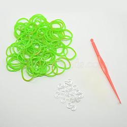 (vente de clôture défectueuse), élastiques teints recharges, avec outils et plastique s-clips, lawngreen, crochet: 80x6x3 mm; outil: 25x54x7 mm; Clip: 11x6x2 mm; bande: 6x1 mm; sur 260 pcs / sac(DIY-D004-04)