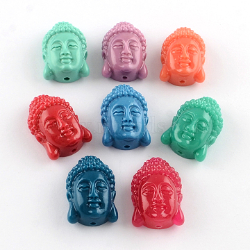Dyed Buddha Head Synthetical Coral Beads, Mixed Color, 24~25x16x10.5mm, Hole: 2mm(X-CORA-R011-16)